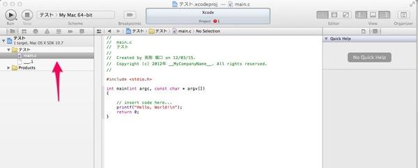 テスト xcodeproj  main c